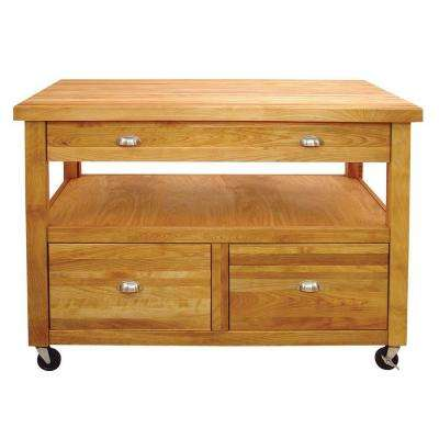 Grand Americana Natural Kitchen Cart With Storage