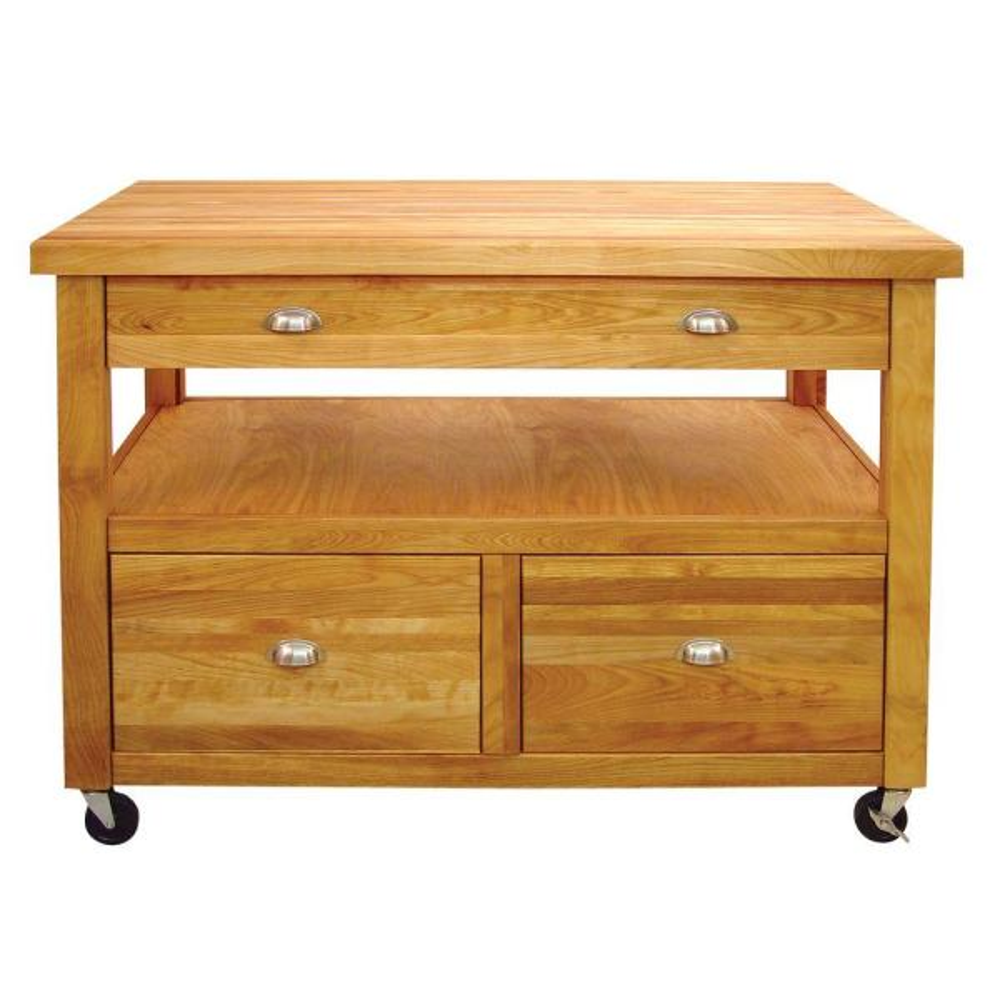 Grand Americana Natural Wood Kitchen Cart with Storage