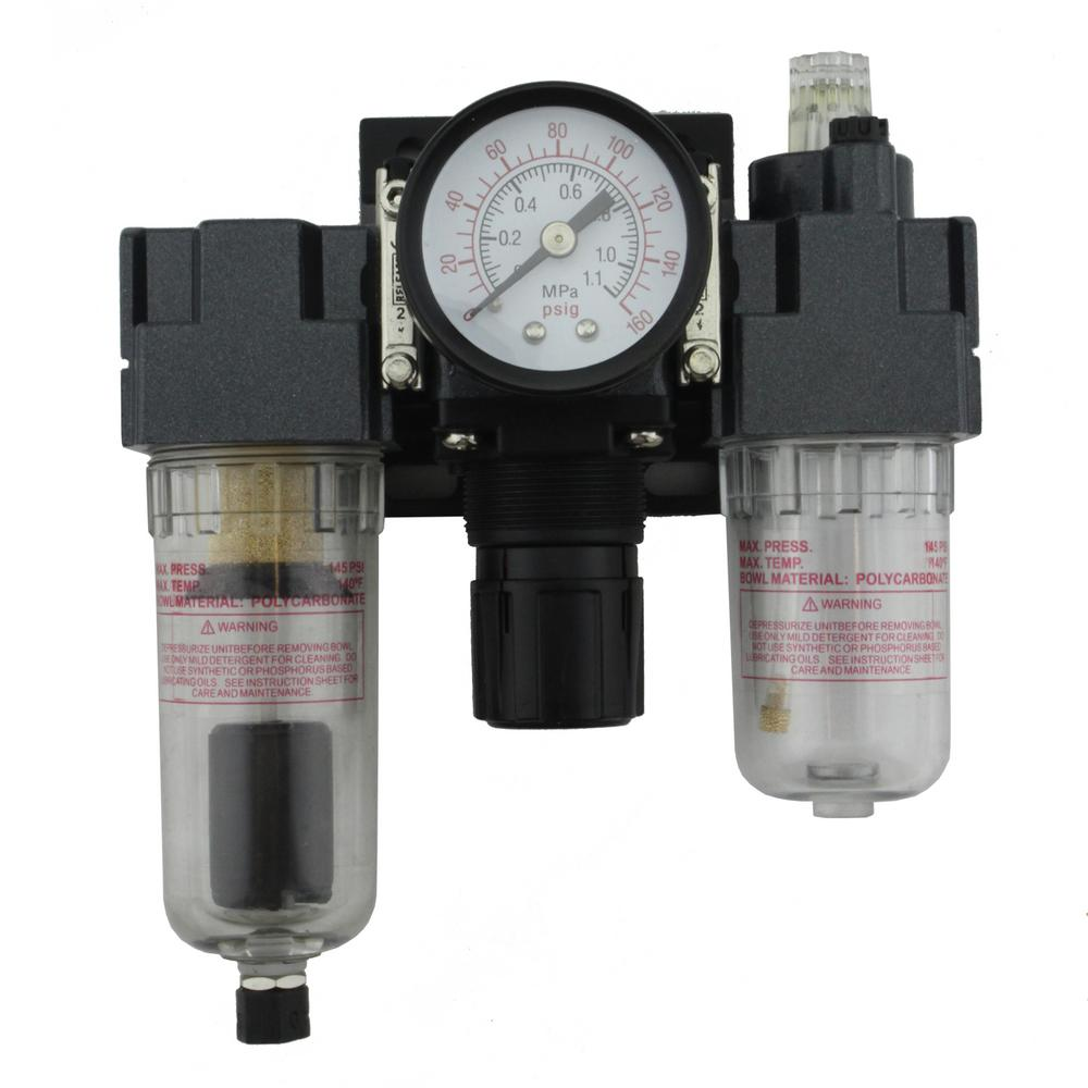 1/4 in. NPT Mini Polycarbonate FRL Air Filter Regulator and Lubricator