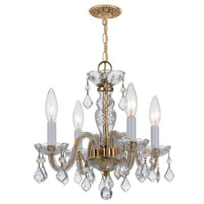 Traditional Crystal 4-Light Clear Spectra Crystal Brass Mini Chandelier