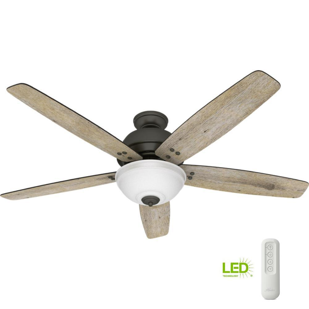 Hunter Hunter Reveille 60 in. LED Indoor Noble Bronze Ceiling Fan with Light and Remote