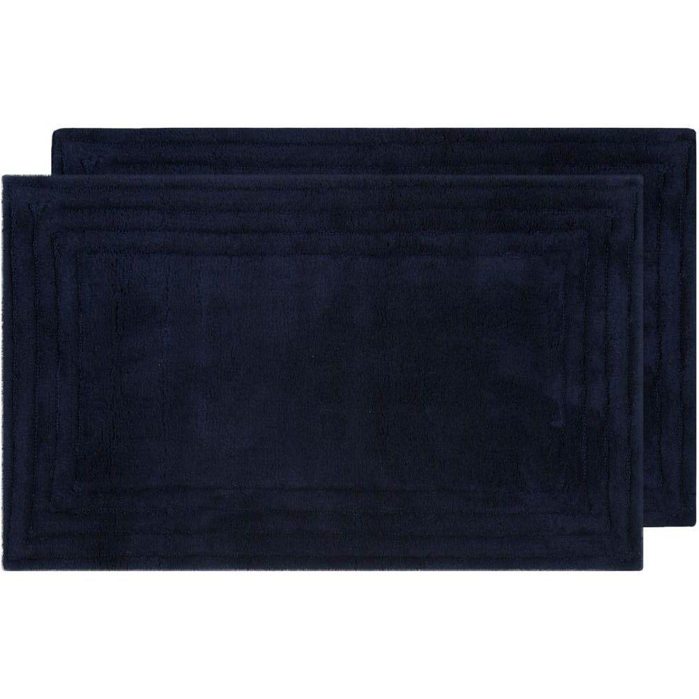 Safavieh Plush Master Bath Navy/Navy 1 ft. 9 in. x 2 ft. 10 in. 2-Piece Rug Set