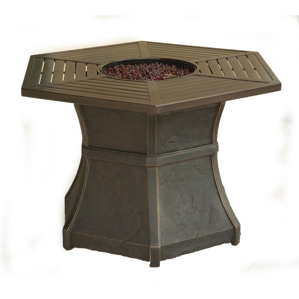 47 in. Hexagonal High-Top Gas Fire Pit Table