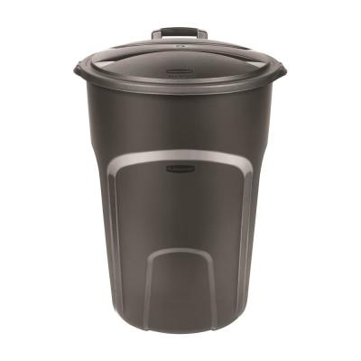 Roughneck 32 Gal. Easy Out Wheeled Trash Can in Black with Lid
