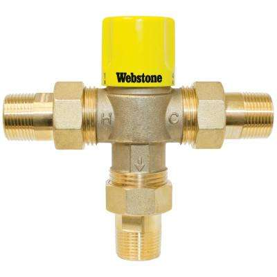 1/2 in. MIP Thermostatic Mixing Valve with Integral Check and Temperature Lock Handle for Point of Use