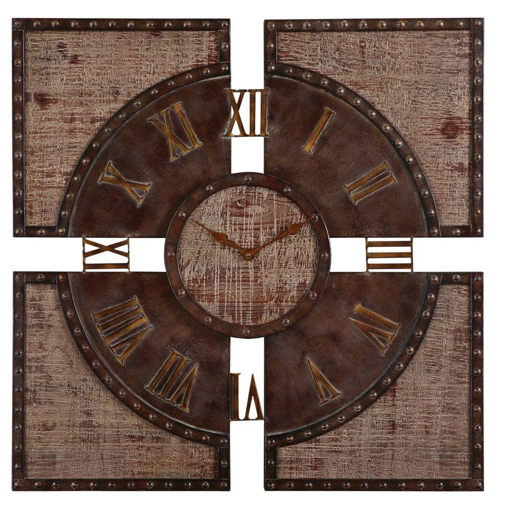 Global Direct 29-7/8 in. Square Paneled Wall Clock-DISCONTINUED