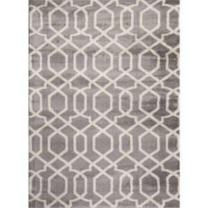 Contemporary Trellis Design Gray Soft 9 ft. x 12 ft. Indoor Area Rug by