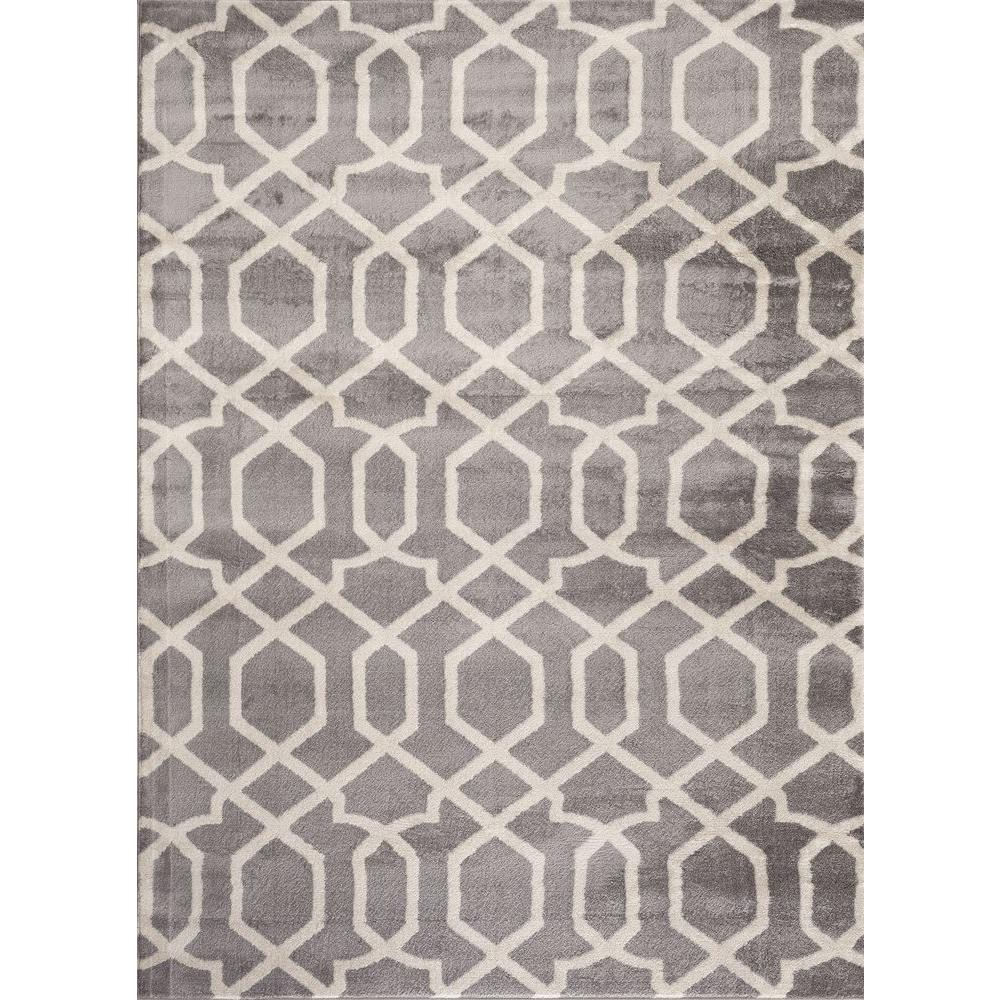 World Rug Gallery Contemporary Trellis Design Gray 3 Ft X 5 Indoor Area