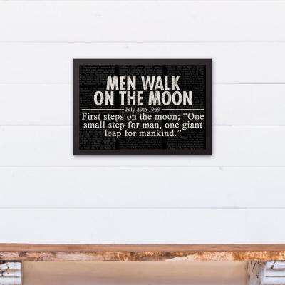 12 in. x 18 in. ''Men Walk on the Moon Headline'' Printed Framed Canvas Wall Art