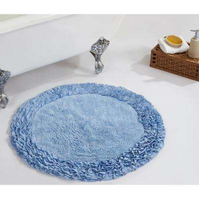 Ruffle Blue 30 in. x 30 in. Cotton Bath Rug