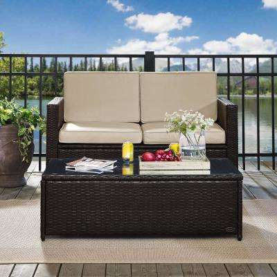 Palm Harbor 2-Piece Wicker Outdoor Seating Set with Sand Cushions - Loveseat and Glass Top Table