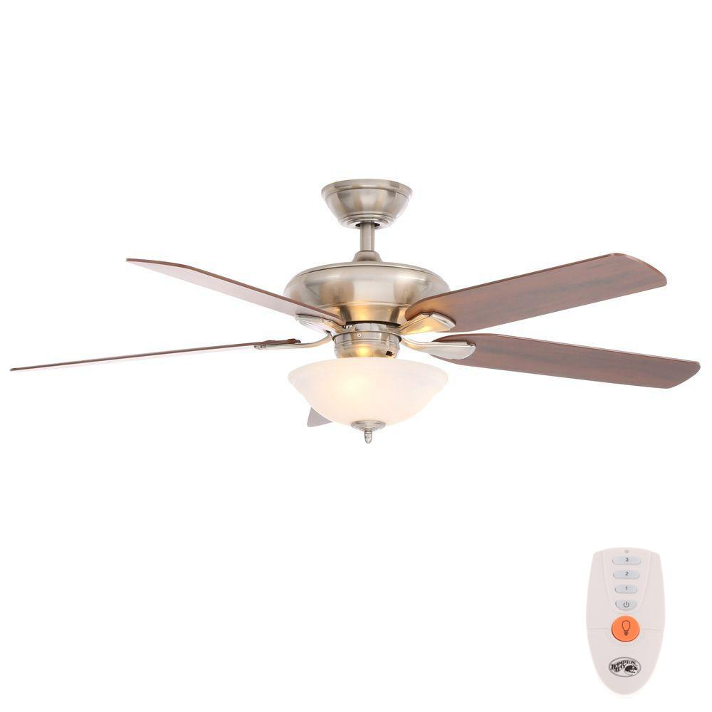 Hampton Bay Flowe 52 In Indoor Brushed Nickel Ceiling Fan With Light Kit And Remote
