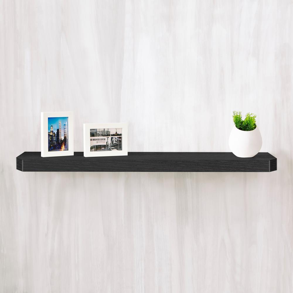 Uniq 35.4 in. W x 1.6 in. D Black Wood Grain zBoard  Floating Wall Shelf and Decorative Shelf