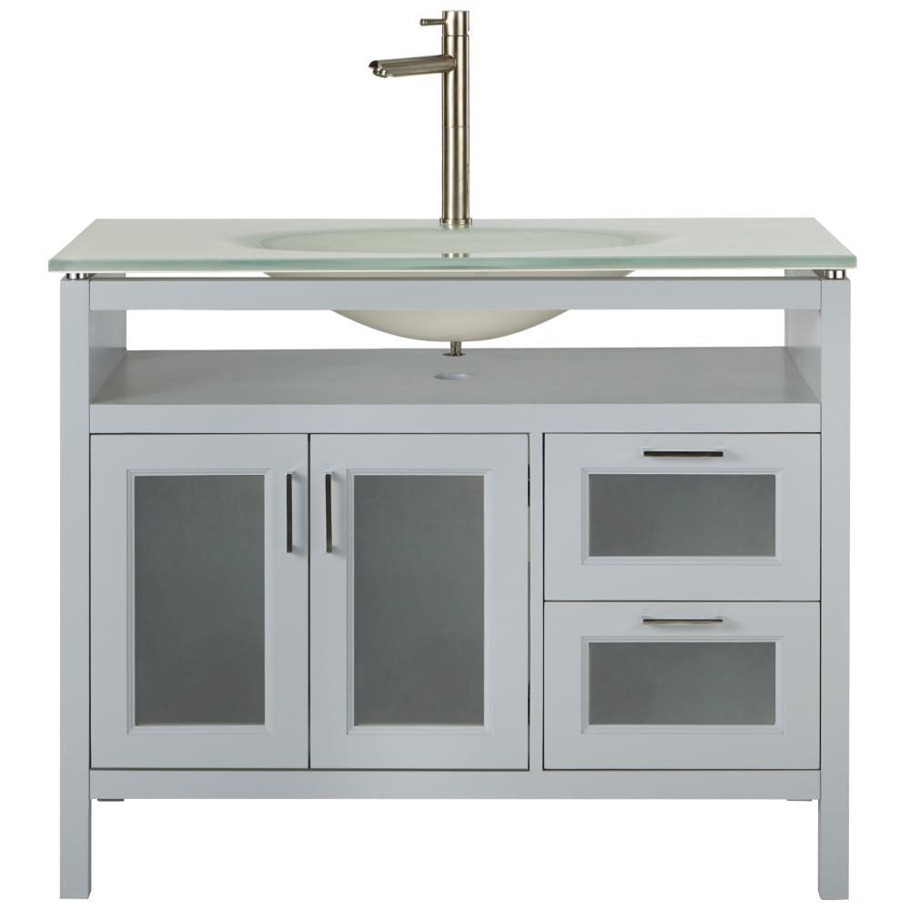 Home Decorators Collection Monica 43 in. W Vanity in Dove Grey with Glass Vanity Top in White with White Sink