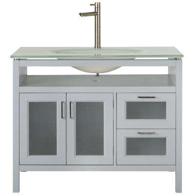 Monica 43 in. W Vanity in Dove Grey with Glass Vanity Top in White with White Sink