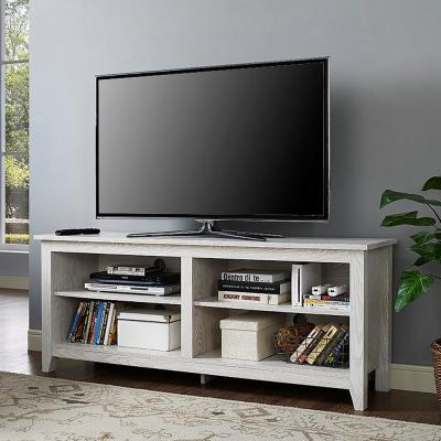 """58"""" Rustic Wood TV Stand - White"""
