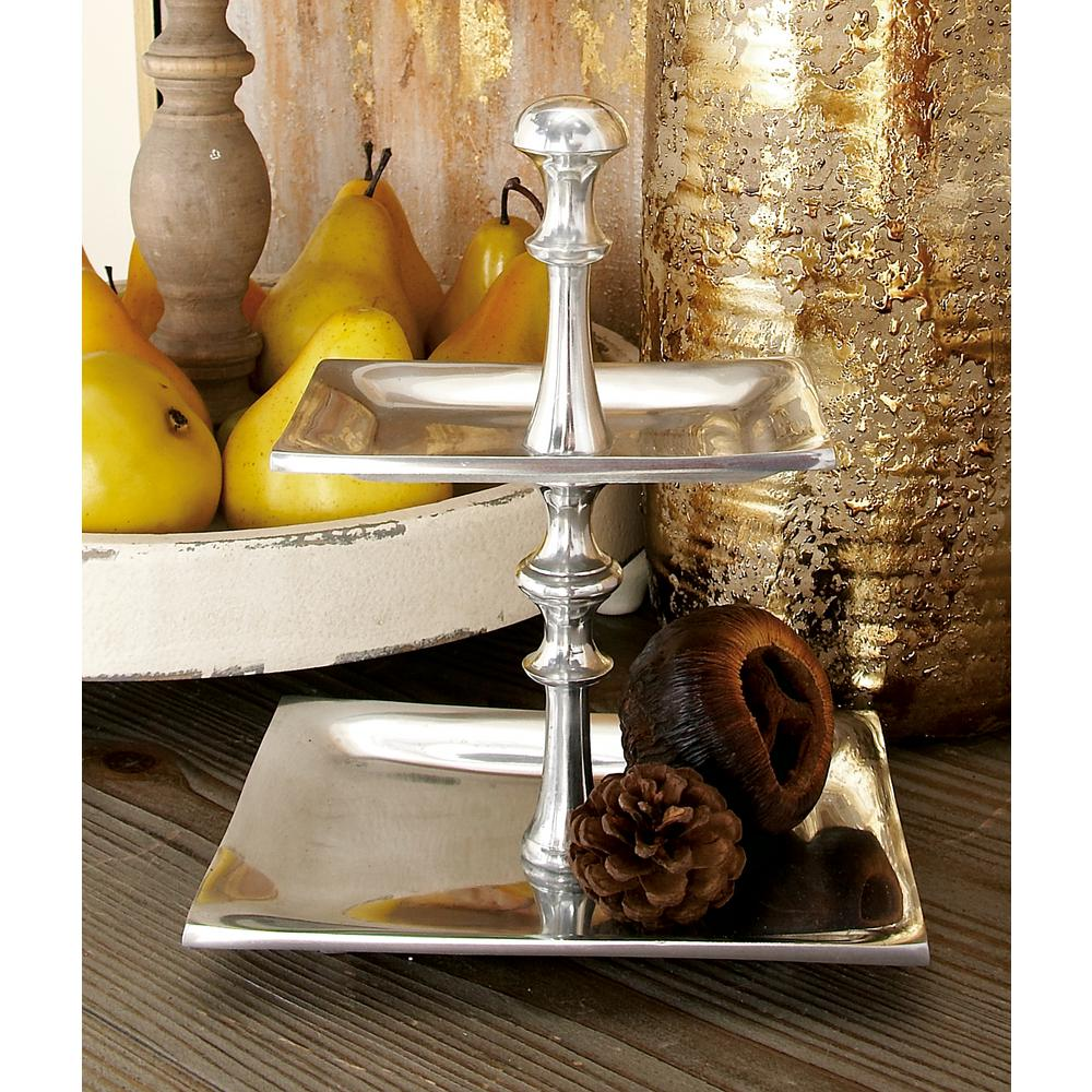 10 in. Silver Aluminum 2-Tiered Candy Tray