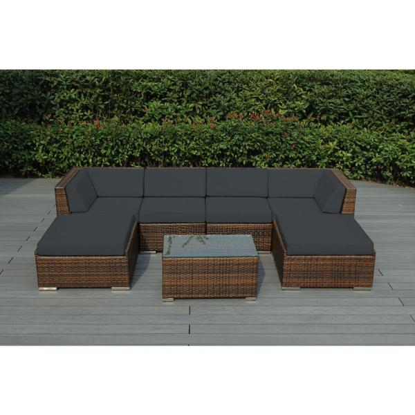 Ohana Mixed Brown 7-Piece Wicker Patio Seating Set with Supercrylic Gray Cushions