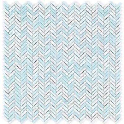 Recoup Herringbone Glacier Glass Mosaic Floor and Wall Tile - 3 in. x 6 in. x 6 mm Tile Sample