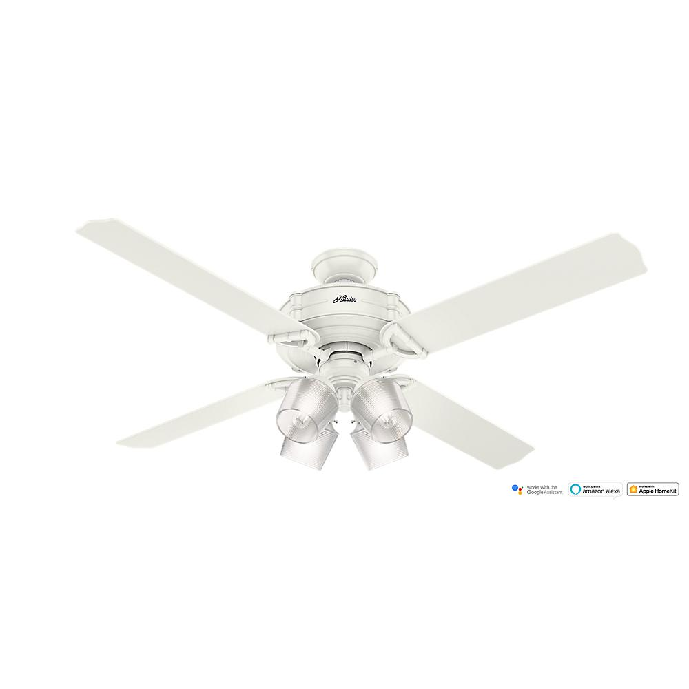 Hunter 52 Contemporary Ceiling Fan 3 Coffee Blades: Hunter Sonic 52 In. Indoor White Ceiling Fan With