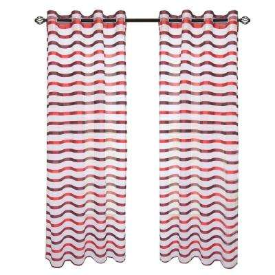 Wine/Red Sonya Grommet Curtain Panel, 95 in. Length
