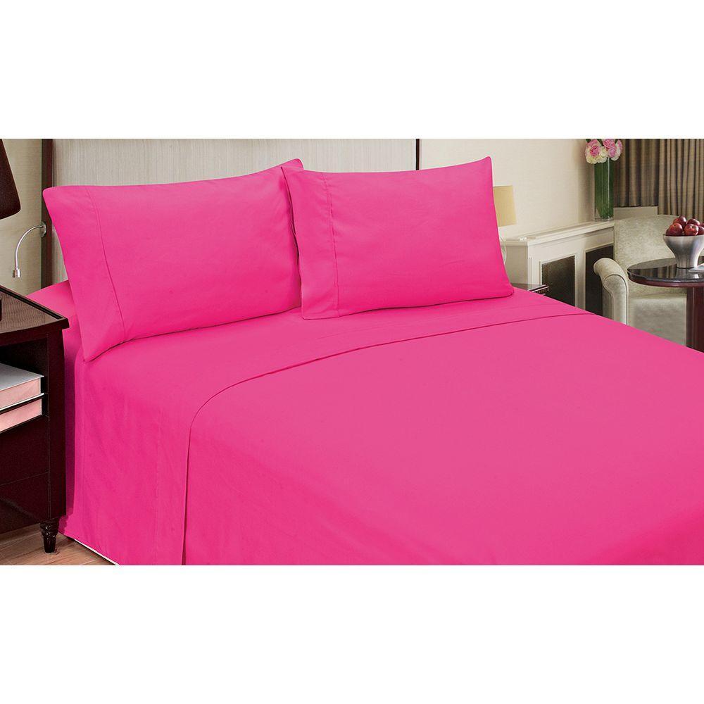 Jill Morgan Fashion Solid Pink Microfiber 4-Piece Full Sheet Set