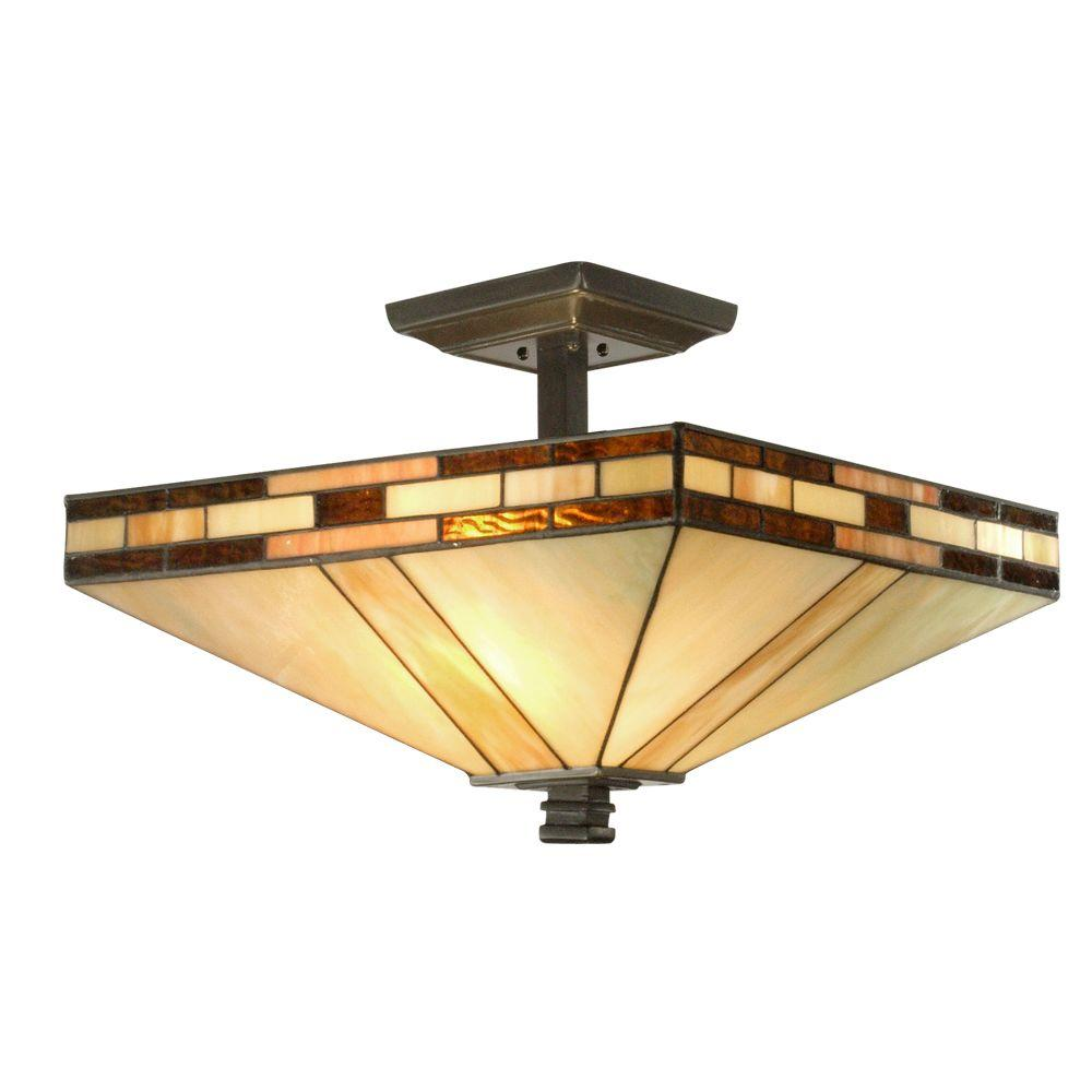 Dale Tiffany Mission 2 Light Antique Bronze Semi Flush Mount Light