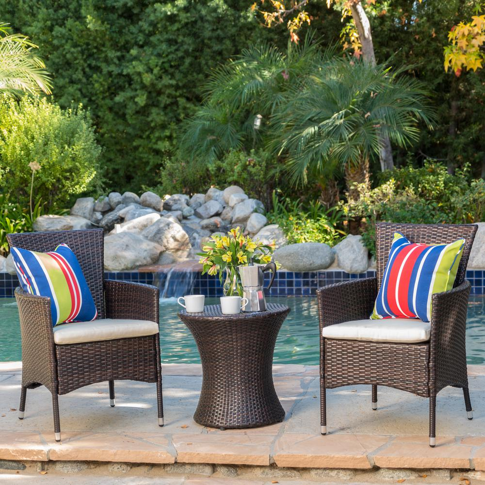Noble House Malta Multibrown 3-Piece Wicker Patio Conversation Set with Beige Cushions