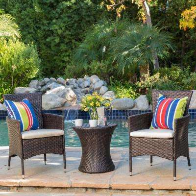 Malta Multibrown 3-Piece Wicker Patio Conversation Set with Beige Cushions