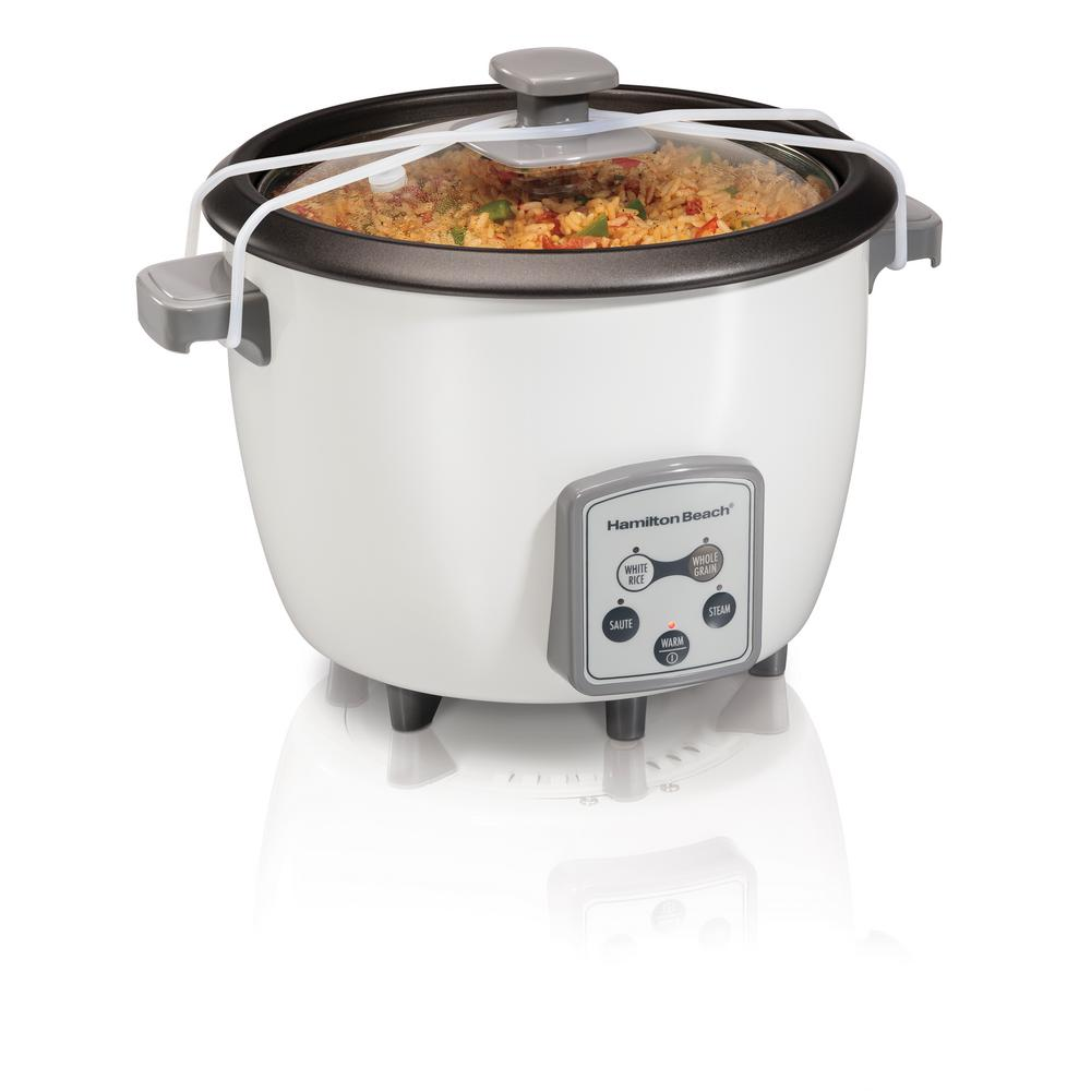 Digital 16-Cup Rice Cooker, White Whether its made from scratch risotto or your favorite package of pilaf, making rice and whole grain recipes has never been easier, thanks to the Hamilton Beach Digital Rice Cooker. This rice cooker features five program settings including white rice, whole grains, saute, steam and warm. Clean up is a snap with the dishwasher safe nonstick cooking bowl and rice rinser/steam basket. The lid liner can also be removed for quick cleaning.