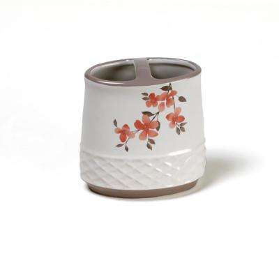 Coral Garden Floral Freestanding Toothbrush Holder in Coral