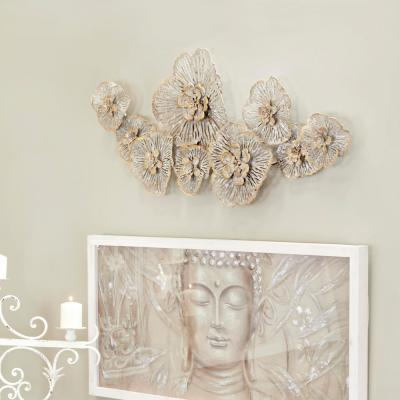 Large Light Gray Metal Flower Wall Decor with Gold Accents
