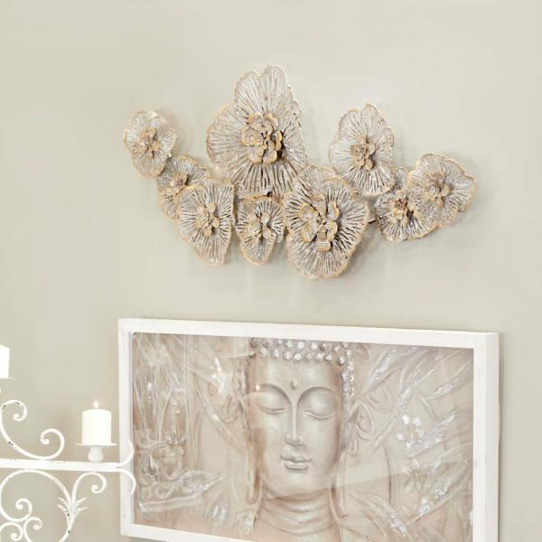 Litton Lane Large Light Gray Metal Flower Wall Decor with Gold