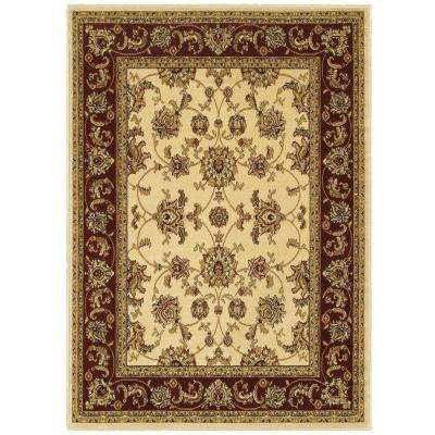 Grace Ivory/Red 5 ft. x 7 ft. Plush Indoor Area Rug