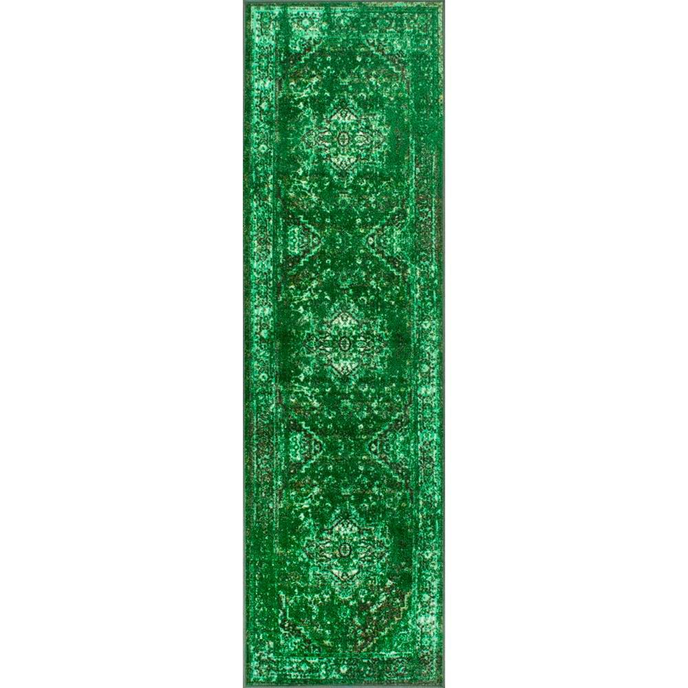 Vintage Reiko Green 3 ft. x 9 ft. Runner Rug