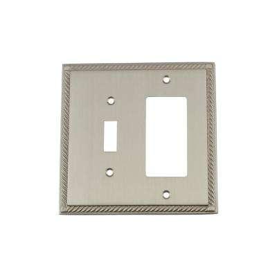 Rope Switch Plate with Toggle and Rocker in Satin Nickel