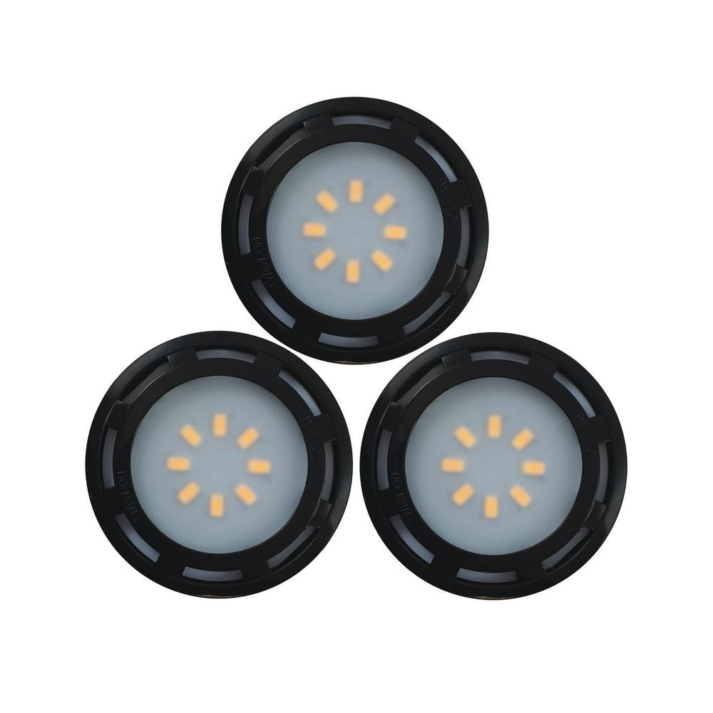Led Puck Lights Home Depot: Westek 4.6 In. LED Black Puck Light (3-Pack)-KBLD-L3B-N1