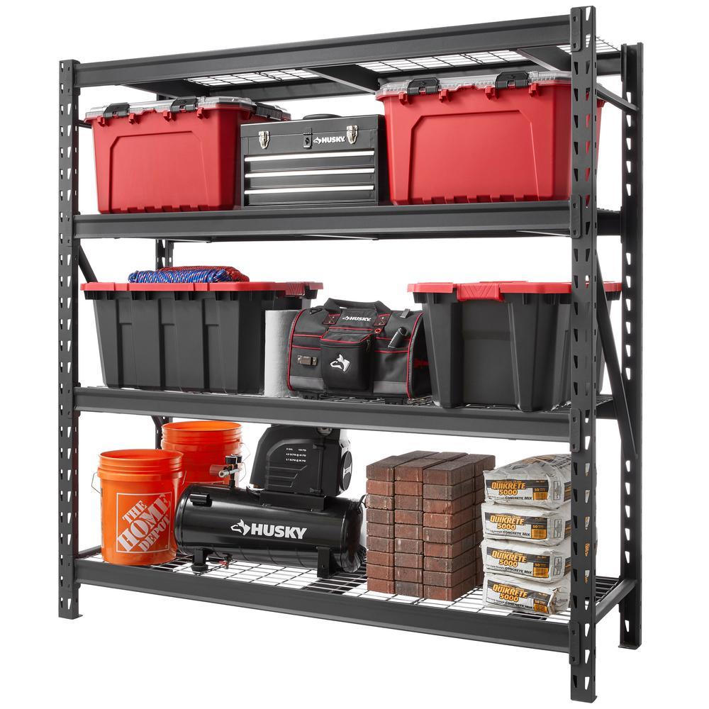 Husky Black 4-Tier Heavy Duty Industrial Welded Steel Garage Shelving Unit (77 in. W x 78 in. H x 24...