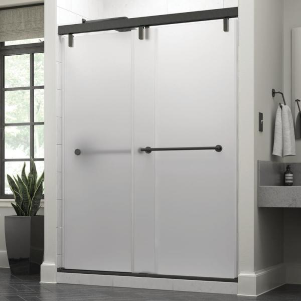 Everly 60 x 71-1/2 in. Frameless Mod Soft-Close Sliding Shower Door in Bronze with 3/8 in. (10mm) Niebla Glass