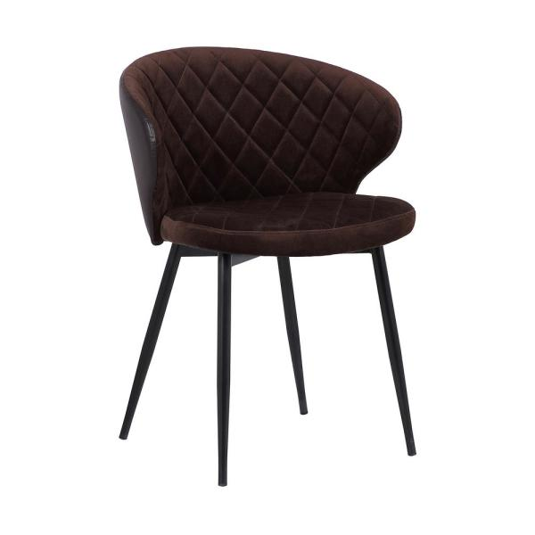 Armen Living Ava Black Powder Coated with Brown Velvet and Brown