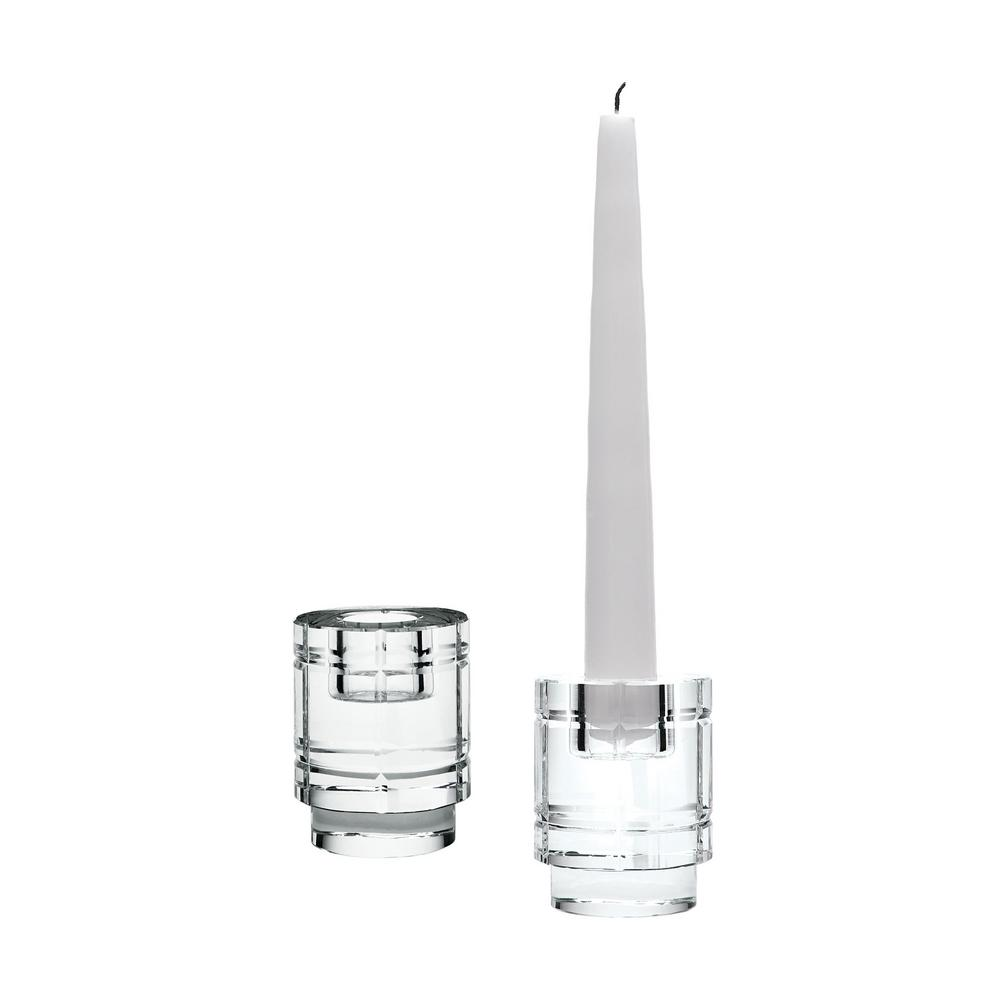 3 in. Windowpane Crystal Column Candle Holders (Set of 2)...