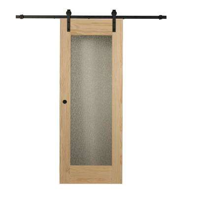 34 in. x 84 in. Timber Hill Rain Glass and Unfinished Pine Wood Barn Door Slab with Sliding Door Hardware Kit
