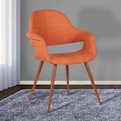 Phoebe 33 in. Orange Fabric and Walnut Wood Finish Mid-Century Dining Chair
