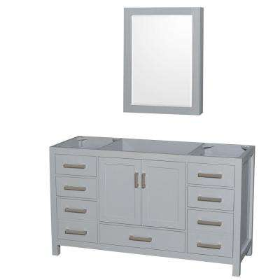 Sheffield 60 in. Vanity Cabinet with Medicine Cabinet Mirror in Gray