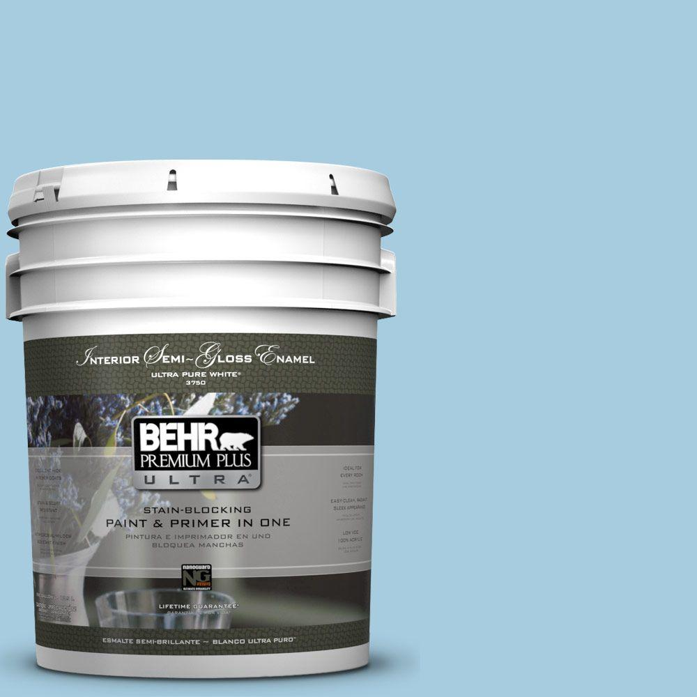 5-gal. #M490-2 Carefree Sky Semi-Gloss Enamel Interior Paint