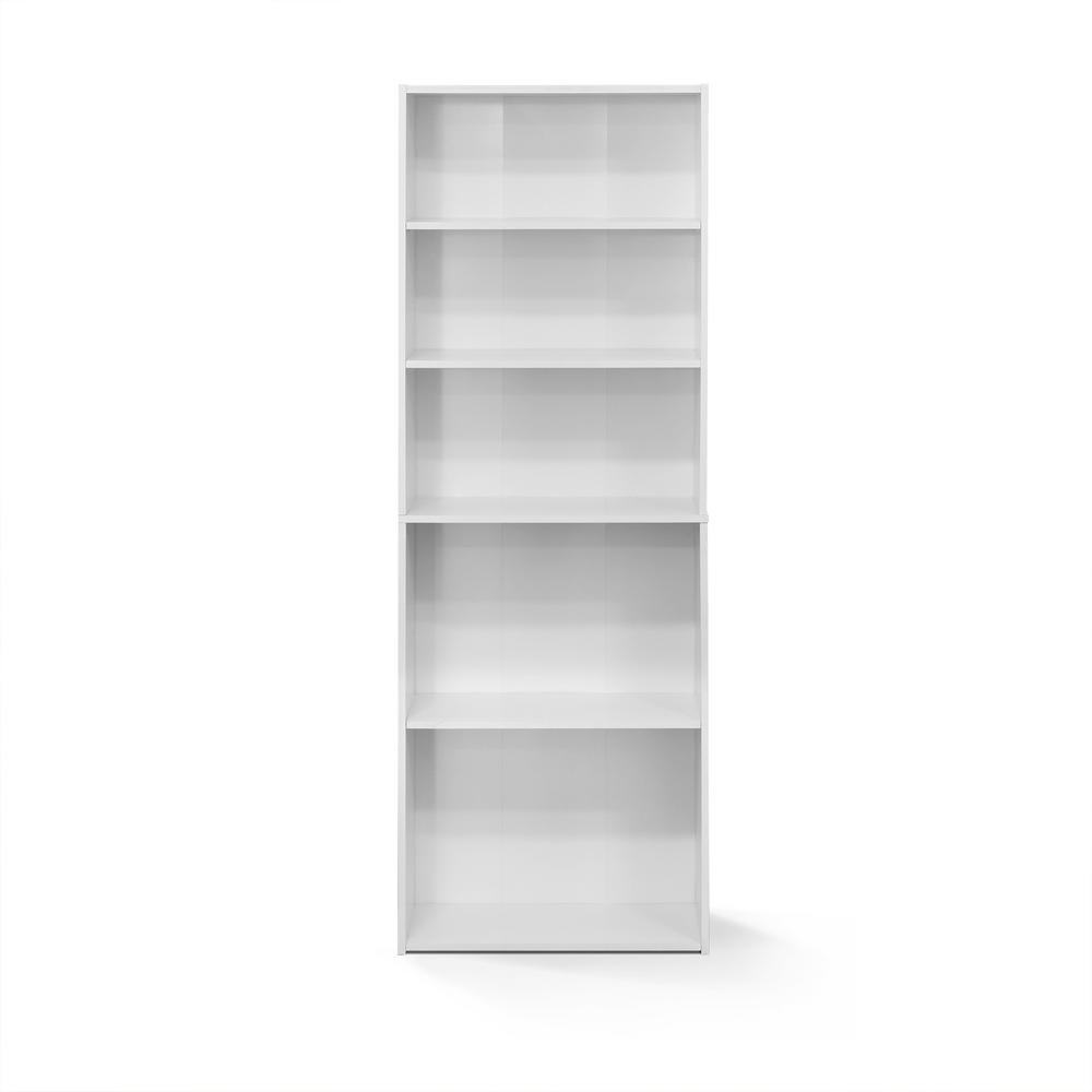 Wright Soft White 5-Shelf Bookcase