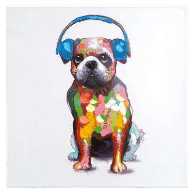 "24 in. H x 24 in. W ""Dog Beats III"" Artwork in Acrylic Canvas Wall Art"