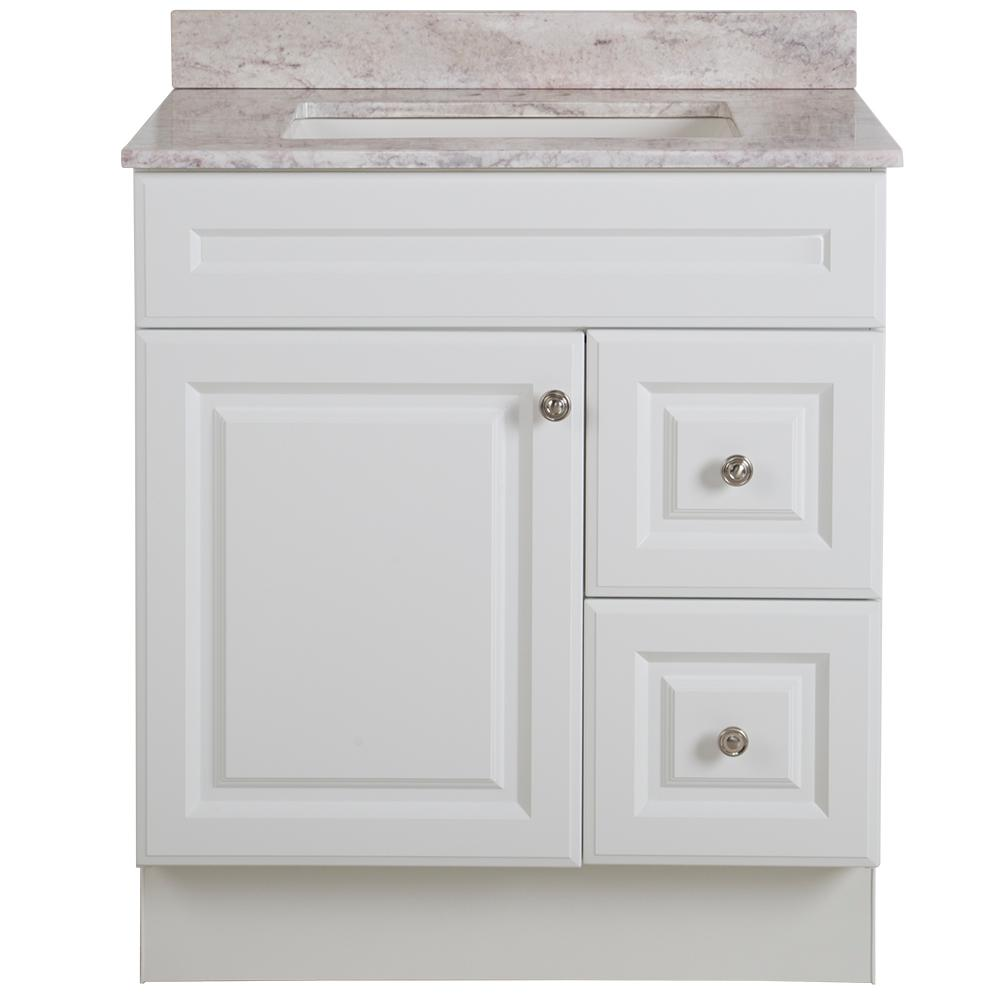 Glacier Bay Glensford 31 in. W x 22 in. D Bathroom Vanity in White with Stone Effects Vanity Top in Winter Mist with White Sink