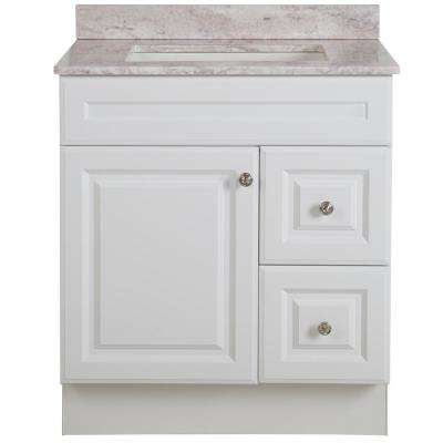 Glensford 31 in. W x 22 in. D Bathroom Vanity in White with Stone Effects Vanity Top in Winter Mist with White Sink