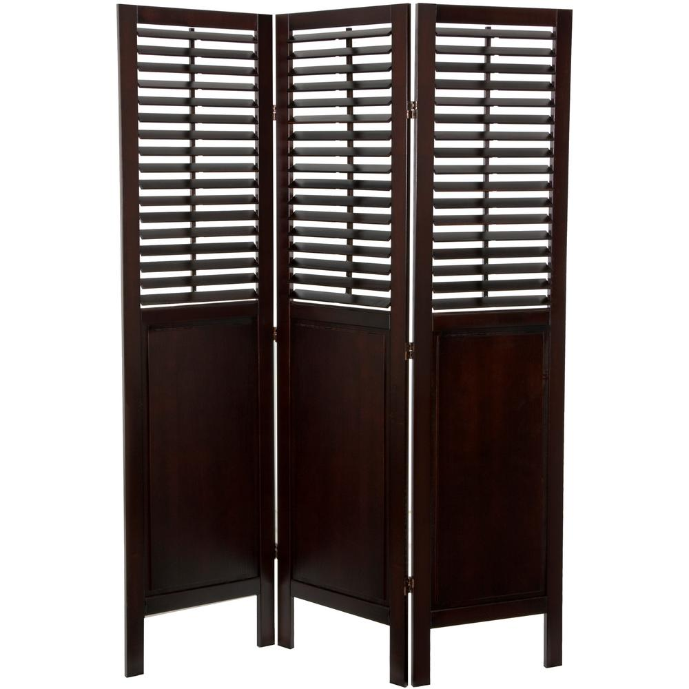 6 ft Brown 3 Panel Dutch Shutter Room Divider SSFWSC38 3P WAL The